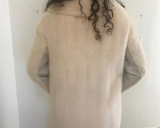 White mink and leather jacket  size 6