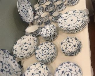 Over 180 piece set of Royal Copenhagen full and half lace.  All priced individually.