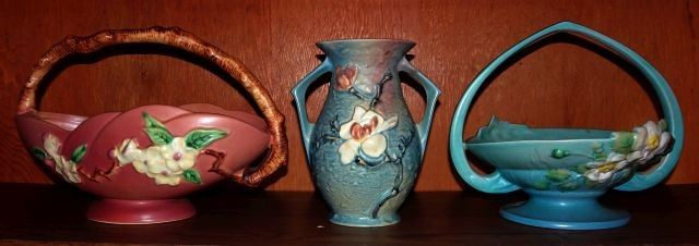 "Roseville Pottery ""Apple Blossom"", ""Magnolia"", ""Wild Rose"""