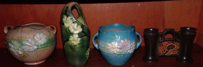 "Roseville Pottery ""Cosmos"", ""Dogwood"", ""Rosecraft Panel"""