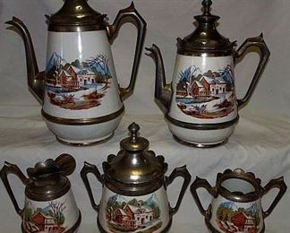 Matching Decorated Granite & Pewter Coffee/Tea Set