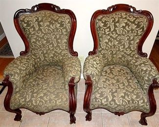Matching Walnut Parlor Chairs