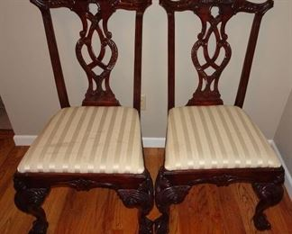 Pair Mahogany Chippendale Style Chairs