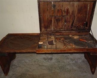 Primitive Cobblers Bench With Tools