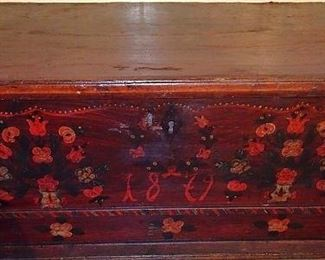 Early Dated Decorated Blanket Box