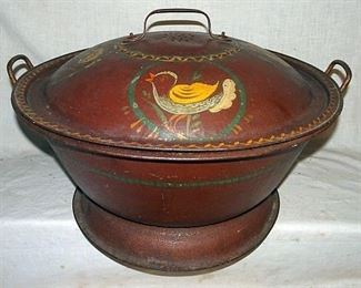 Decorated Early Toleware Bread Pan