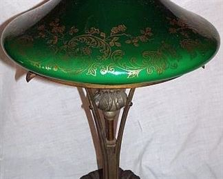 Parlor Lamp With Green Cased Glass Shade