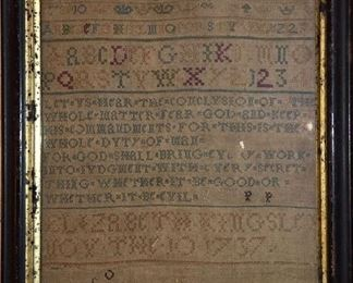 Early Dated 1737 Hand Stitched Sampler