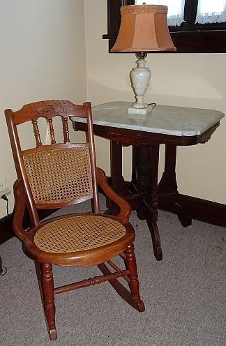 Walnut Marble Top Parlor Table< Walnut Caned Rocker