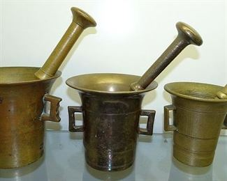 Period Brass Mortar & Pestles