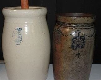 Whitehall Stoneware Churn, Blue Decorated Crock
