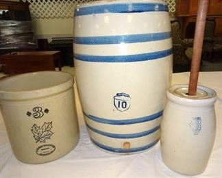 10 Gallon Ice Water Crock, Rare 1 Gallon White Hall Churn W/ Lid, 3 Gallon Western Stoneware Crock
