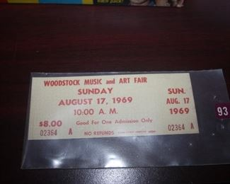 WOODSTOCK TICKET AUGUST 17 , 1969