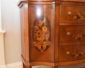 Beautiful Inlaid Marquetry Burl Wood Sideboard / Credenza