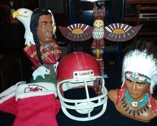 Native American Figures, Pottery, Jewelry, Kansas City Chiefs Helmet