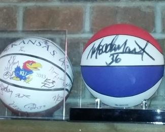 autographed Basketballs-signed KU & Harlem Globetrotter