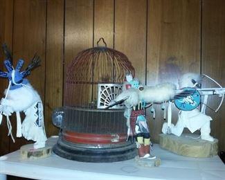 Native American Kachina Dolls Figurines, Vintage Bird Cage