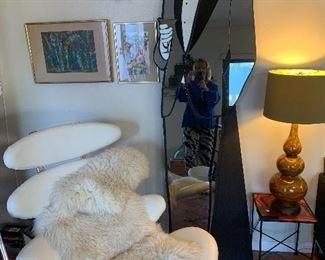 David Marshall large Mirror and Triple Gourd drip glaze lamp, small Paul McCobb table