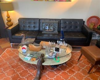 Knoll Leather Sofa,  Eglomise style curved glass table
