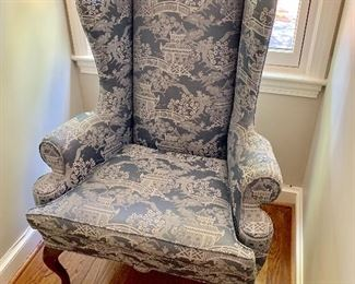 Wing chair with Queen Anne legs.