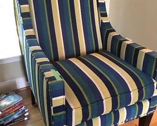 Pair of Striped Nail Head Trim Chairs