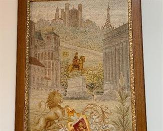 Antique Petitpoint Needlework Picture