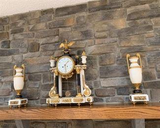 French Louis XVI Bouchet Fontainebleau 3 piece mantle clock set