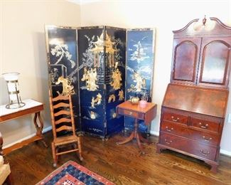 Flame Grain Secretary, Antique Laquer Asian Screen MOP Inlay, Art Deco Table Lamp, Antique Child's Rocking Chair.