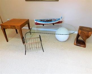 Burl Side Table, Mid Century Bent Glass & Ball Coffee Table, Mid Century Magazine Rack, Twisted Wood Side Table