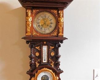 Antique Gilt Gold Wood Clock/Barometer/Thermometer combination.  Measures approx. 40 inches tall by 16 inches wide.  $2000.00