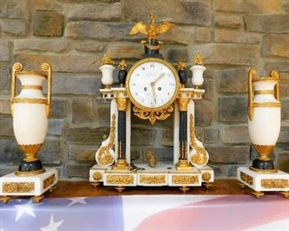 3 Piece French Mantle Clock - Bouchet Fontainbleau, Gilt Gold & Marble.  The clock measures approx. 22 inches tall by 15.5 inches wide. $5500