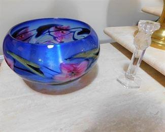 Signed Large Art Glass Bowl - Charles Lottan