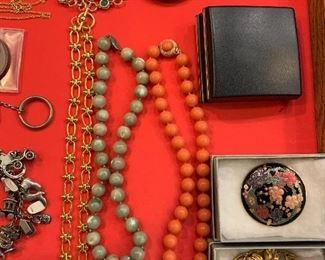 Ciner Faux Coral Necklace, Goldette Bracelet, Green MOP Necklace