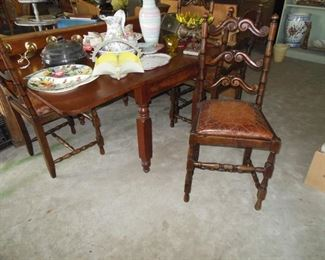 4 French Chairs Brown Leather Cushions