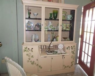 Painted China With Fall Front Desk and Bubble Glass in The Doors.