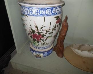 Really Pretty Hand Painted Italian Planter with Matching Water Safety Guard