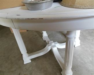 Gorgeous, Distressed White Dining Table with Elegant Stretcher Base