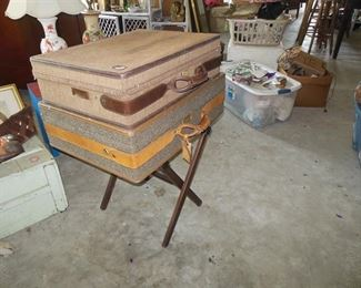 Two Hartman Suitcases. Both Leather Bound on Luggage Stand
