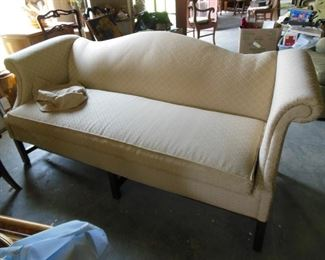 Pristine Cream Color Camel Back Sofa