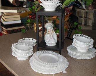 VERY OLD Milk Glass Serving Pieces
