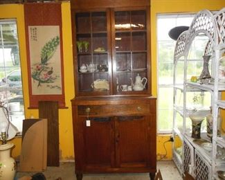 Walnut Cupboard Circa 1810, (Jackson Press). Two Upper Doors Have 16 Glazed Panels of Old Glass, Two Solid Lower Doors. Center Drawer With Federal Brass Pulls. Probably Made on the Farm (Cedar Hill, Como, N.C.). Turnip Feet. Excellent Condition.
