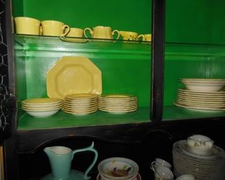 Ironstone Dishes, Octagonal Shape, Beautiful Golden Yellow in Distressed Black China With Bright Green Interior