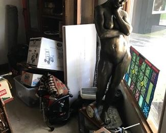 Stained glass windows, life size statue oF African princess