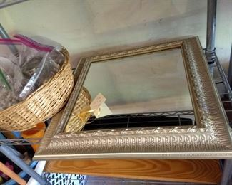 "Silver framed mirror 19"" x 19""  and Bagged cabinet hardware, knobs and some pulls, mostly brushed nickel"