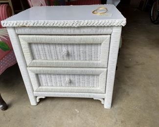 Vintage Wicker by Henry Link, bedside chest- 3 matching pieces