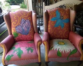 Lovely Painted Wing Back Chairs, purchased from an artist, Mackenzie Childs style