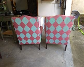Back side of painted chairs