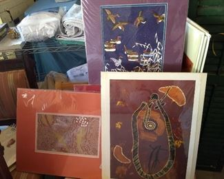 miscellaneous matted prints, including some Aboriginal artwork