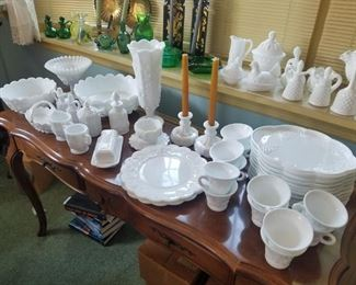 Milk glass collection, several sets of milk glass snack sets.