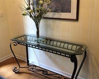 Iron and Glass Sofa Table.